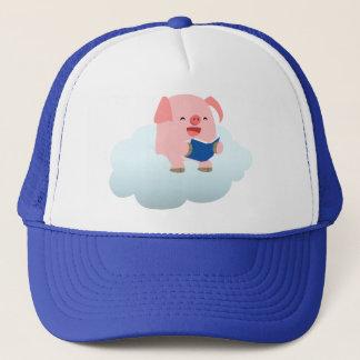 Cute Cartoon Pig Reader on Cloud Hat