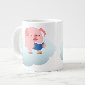 Cute Cartoon Pig Reader on Cloud Jumbo Mug