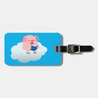 Cute Cartoon Pig Reader on Cloud Luggage Tag