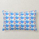 Cute Cartoon Pig Reader on Cloud Lumbar Pillow
