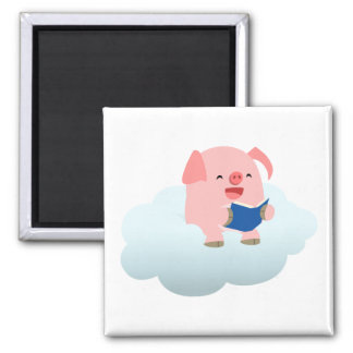 Cute Cartoon Pig Reader on Cloud Magnet
