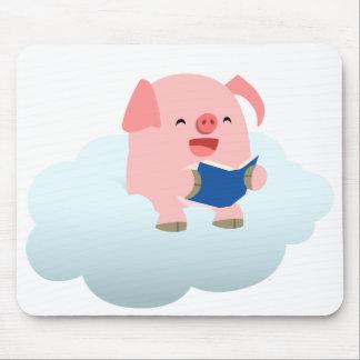Cute Cartoon Pig Reader on Cloud Mousepad