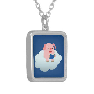 Cute Cartoon Pig Reader on Cloud Necklace