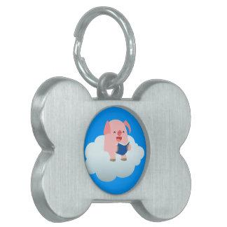 Cute Cartoon Pig Reader on Cloud Pet Tag
