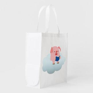 Cute Cartoon Pig Reader on Cloud Reusable Bag