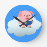 Cute Cartoon Pig Reader on Cloud Wall Clock