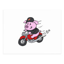 Cute cartoon pig riding motorcycle postcard