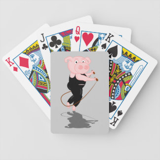 Cute Cartoon Pig Skipping Bicycle Playing Cards