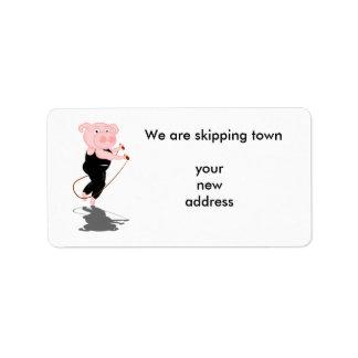 Cute Cartoon Pig Skipping Label