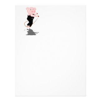 Cute Cartoon Pig Skipping Letterhead