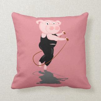 Cute Cartoon Pig Skipping Throw Pillow