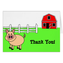 Cute Cartoon Pig Thank You Card