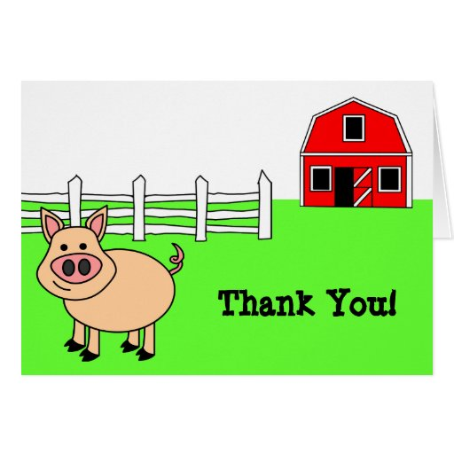 Cute Cartoon Pig Thank You Card