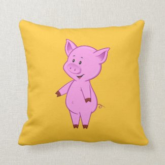 Cute Cartoon Pig Throw Pillow