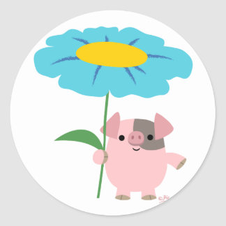 Cute Cartoon Pig With Gift (Blue) Sticker