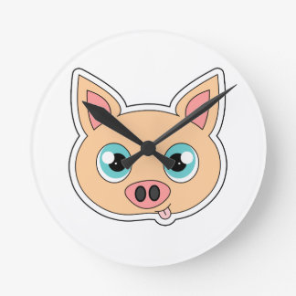 Cute Cartoon Pig with Tongue Out Round Clock