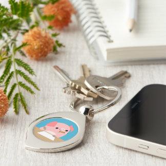 "Cute Cartoon Pig ""Writer's Block"" Metal Keychain"