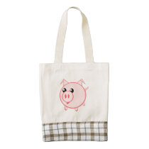 Cute cartoon pig zazzle HEART tote bag