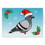 Cute Cartoon Pigeon Santa Card