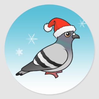 Cute Cartoon Pigeon Santa Classic Round Sticker