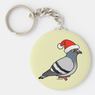 Cute Cartoon Pigeon Santa Keychain