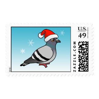 Cute Cartoon Pigeon Santa Stamp