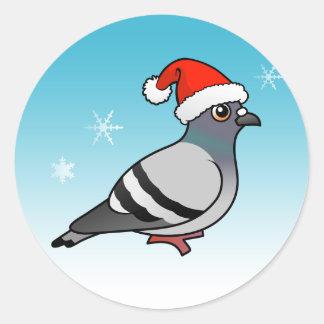 Cute Cartoon Pigeon Santa Round Sticker