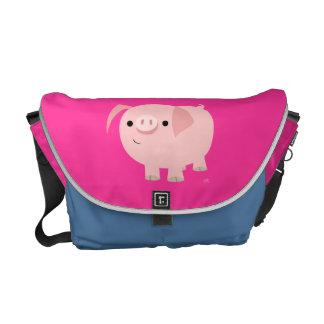Cute Cartoon Piggy Rickshaw Messenger Bag