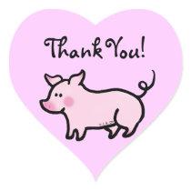 Cute cartoon piggy thank you heart sticker