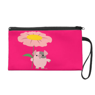 Cute Cartoon Piglet With Gift (Pink) Wristlet