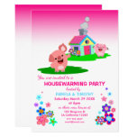Cute Cartoon Pigs' Housewarming Party Invitation