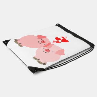 Cute Cartoon Pigs in Love Drawstring Backpack