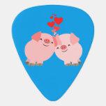 Cute Cartoon Pigs In Love Guitar Pick