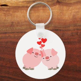Cute Cartoon Pigs in Love Keychain keychain