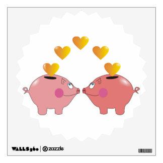 Cute Cartoon Pigs in Love Kids Wall Decals