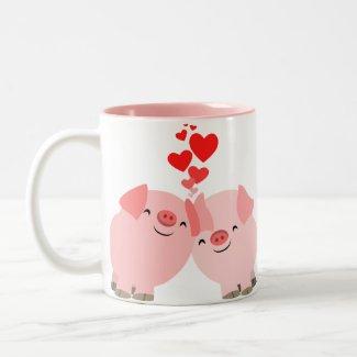 Cute Cartoon Pigs in Love Mug mug