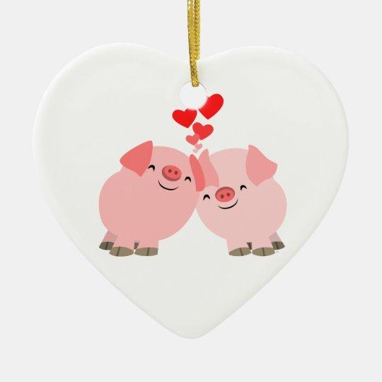 Cute Cartoon Pigs in Love Ornament