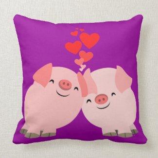Cute Cartoon Pigs in Love Pillow