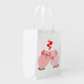 Cute Cartoon Pigs in Love Reusable Bag