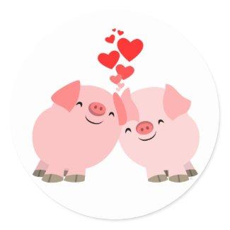Cute Cartoon Pigs in Love Sticker sticker