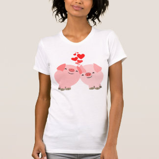 Cute Cartoon Pigs in Love Women T-Shirt