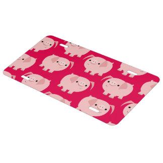 Cute Cartoon Pigs License Plate Cover