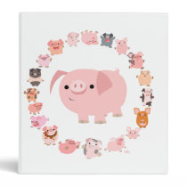 Cute Cartoon Pigs Mandala Binder