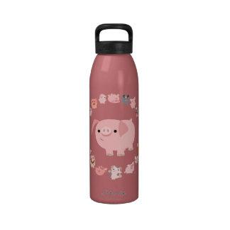 Cute Cartoon Pigs Mandala Water Bottle