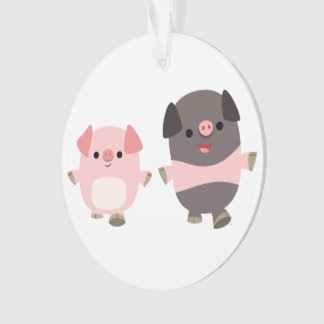 Cute Cartoon Pigs On a Walk Acrylic Ornament