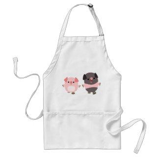 Cute Cartoon Pigs On a Walk Apron