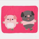 Cute Cartoon Pigs On a Walk Baby Blanket