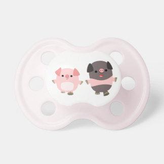 Cute Cartoon Pigs On a Walk Baby Pacifier