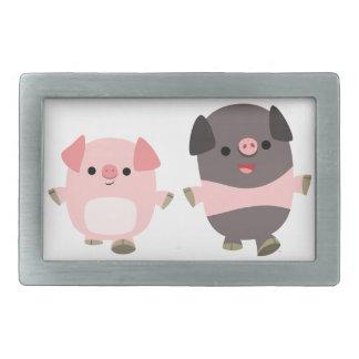 Cute Cartoon Pigs On a Walk Belt Buckle