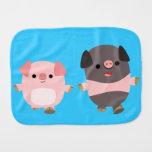 Cute Cartoon Pigs On a Walk Burp Cloth